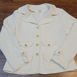 Joan Rivers jacket blazer cream gold buttons Med